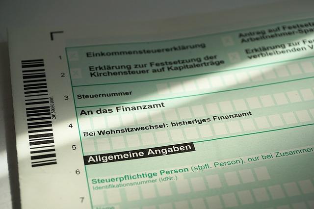 daňové přiznání, formulář